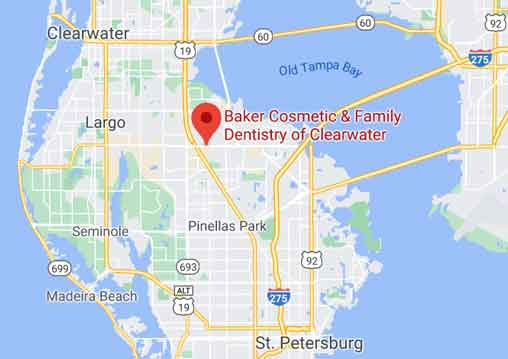 Google map with Baker Cosmetic & Family Dentistry of Clearwater location.